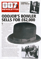 007 NEWSLETTER #19 Oddjob Bowler Hat Goldfinger