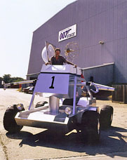 Graham Rye in the Diamonds Are Forever Moon Buggy at Pinewood Studios 1993