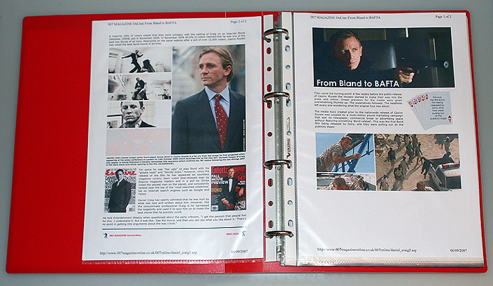 007 MAGAZINE OnLine sample two page printed spread