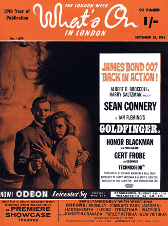 Goldfinger promoted on the cover of What's On In London magazine