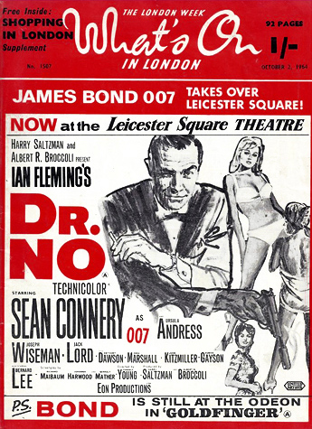 Dr. No on the cover of What's On In London magazine 1964