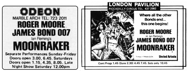 Moonraker Odeon Marble Arch/London Pavilion 1979