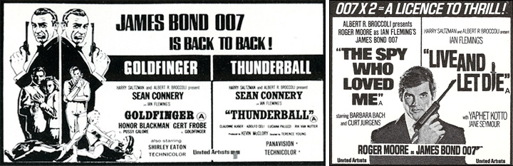 Goldfinger/Thunderball & The Spy Who Loved Me/Live And Let Die double bill newspaper adverts