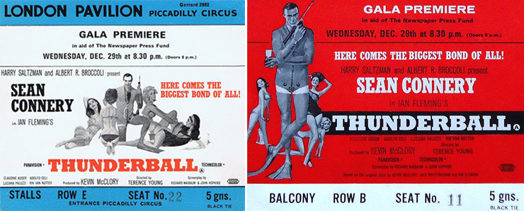 Thunderball premiere tickets