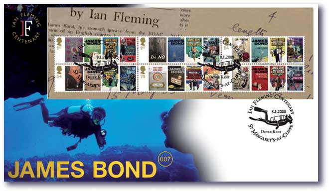 James Bond 007 Postage Stsmpa Underwater cover with miniature sheet
