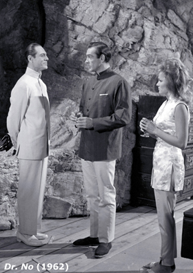 Joseph Wiseman as Doctor No, Sean Connery as James Bond and Ursula Andress as Honey Rider in Dr. No (1962)