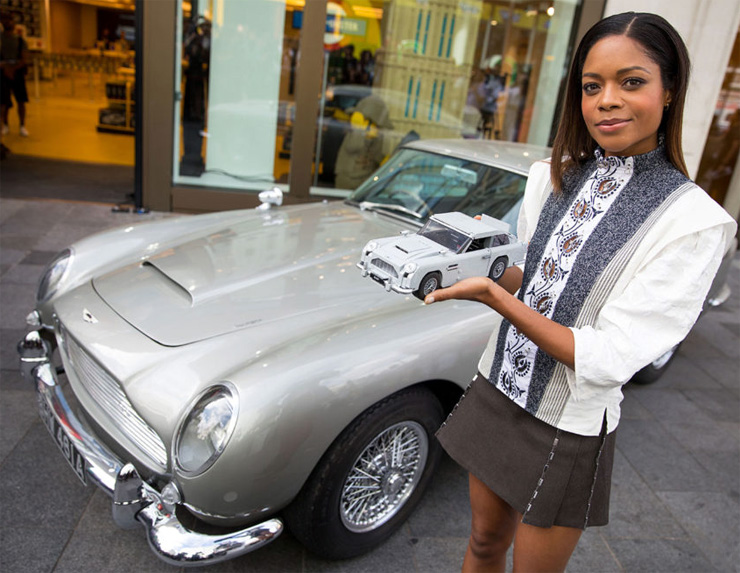 Naomie Harris with the new 1:8 scale LEGO Aston Martin DB5 model