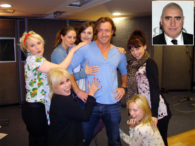 Actor Toby Stephens who plays James Bond in the Radio 4 adaptation of Ian Fleming's On Her Majesty's Secret Service surrounded by female cast members including Joanna Lumley (who plays Irma Bunt)