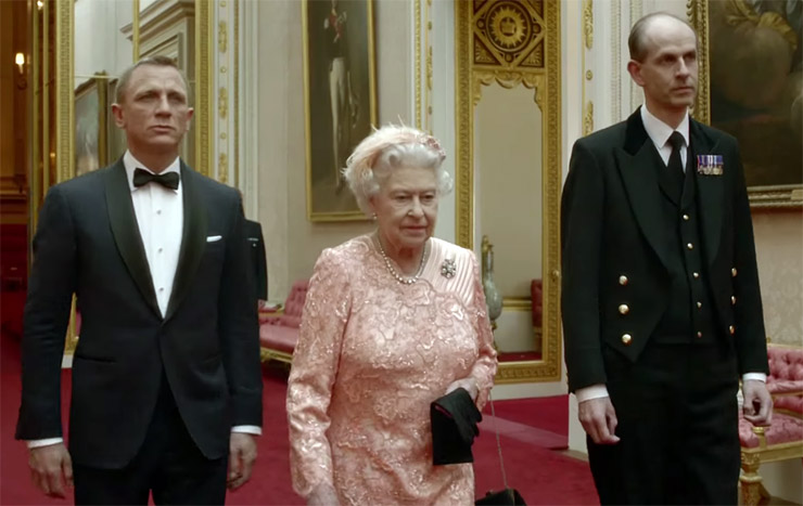 Daniel Craig as James Bond with HRM Queen Elizabeth II in 'Happy and Glorious'