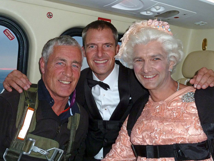 Gary Connery in costume as the Queen - with Mark Sutton as James Bond
