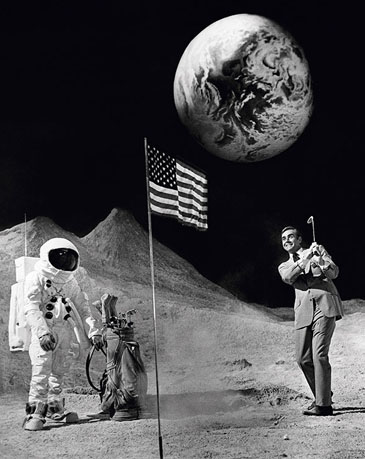 Sean Connery plays golf on the moon set Diamonds Are Forever (1971) Photograph by Terry O'Neill