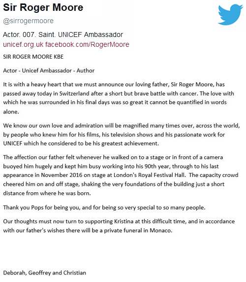 Announcement of Sir Roger Moore's death from his official Twitter account