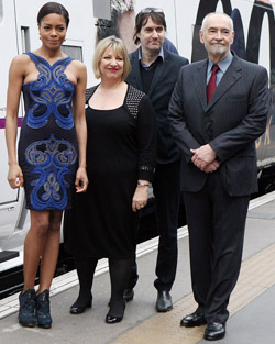 Naomie Harris, Neal Purvis and Michael G Wilson unveil Skyfall train at Kings's Cross