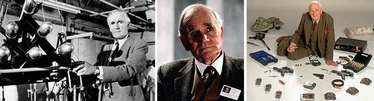 Desmond Llewelyn as Q in Diamonds Are Forever (1971), The Living Daylights (1987) and GoldenEye (1995)