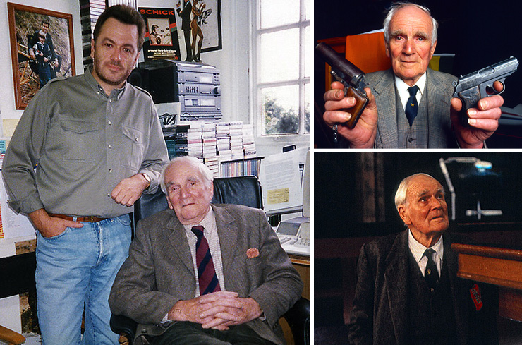 Editor & Publisher Graham Rye photographed with Desmond Llewelyn during one of the actor's visits to the 007 MAGAZINE office